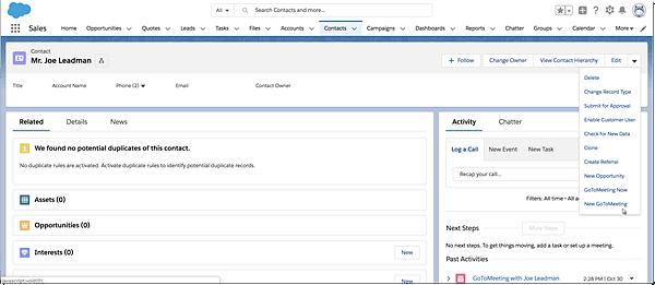 Individuare i pulsanti di GoToMeeting in Salesforce