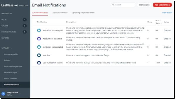 Notificaciones por e-mail de la Consola de administración de Teams