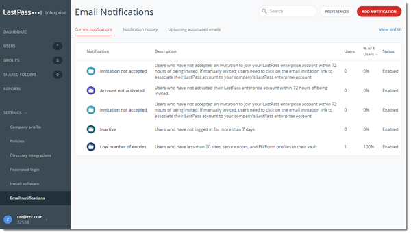 Teams-Administrationskonsole – E-Mail-Benachrichtigungen