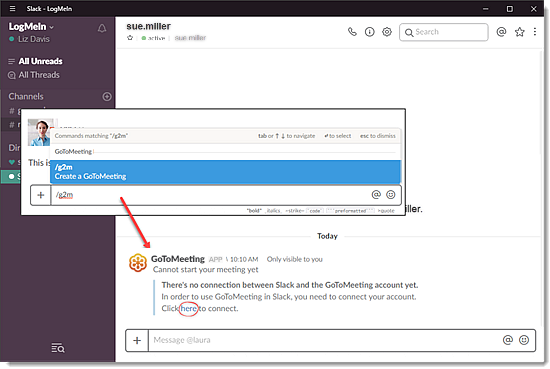 Integrate GoToMeeting with Slack