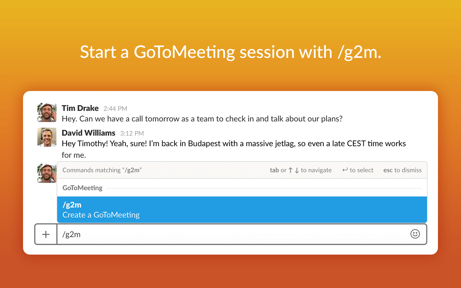 GoToMeeting Slack Create Meeting
