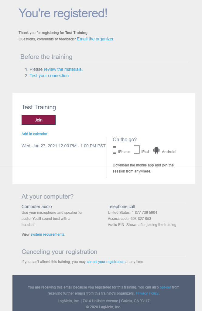 GoToTraining Confirmation Email