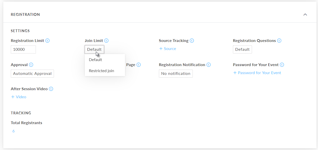 Restricted Join Setting