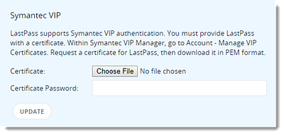 Configure Symantec VIP Authentication