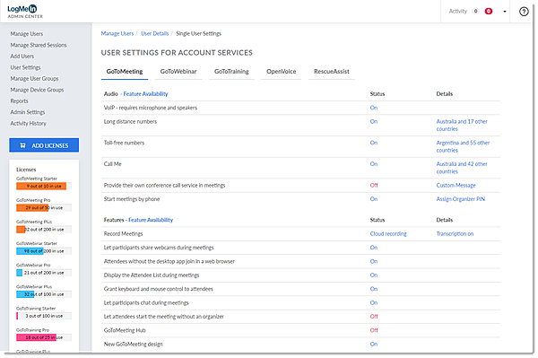 Configurações de produtos para um usuário