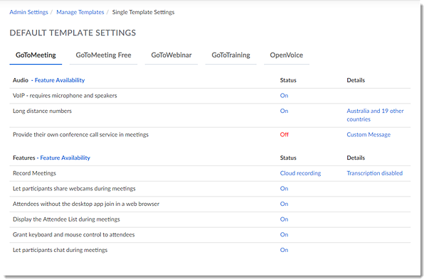 Default product settings template