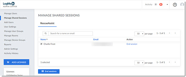 Manage shared sessions