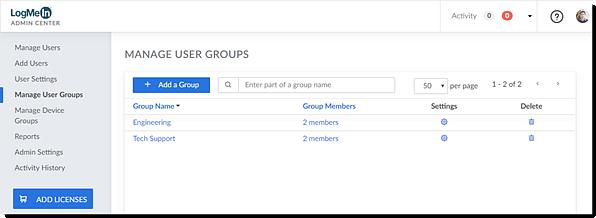 Eliminare un gruppo utenti