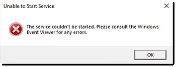 """Erro """"Não foi possível iniciar o serviço"""""""