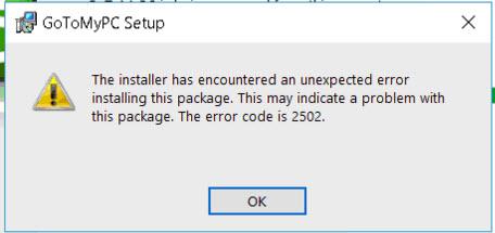 Uninstall Error for GoToMyPC