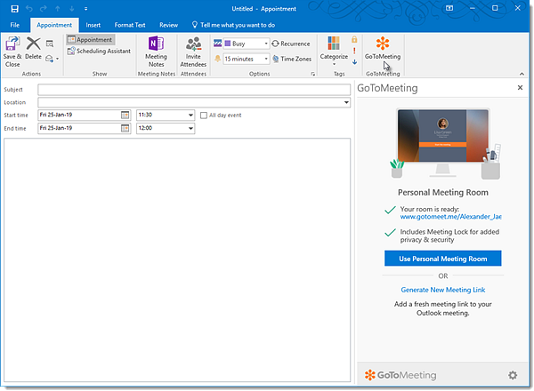 Install the GoToMeeting Office 365 Outlook Add-In