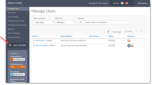Add License in Admin Center
