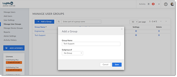 Adding a new group or subgroup