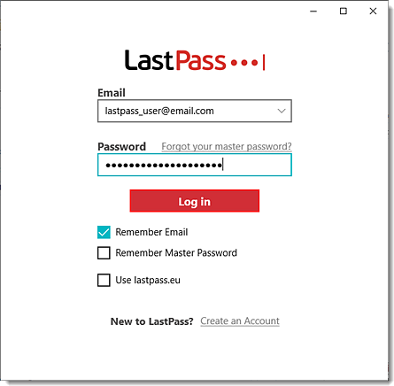 Aplicativo de desktop LastPass para login do Windows