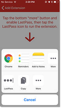 Tap More then tap LastPass to enable