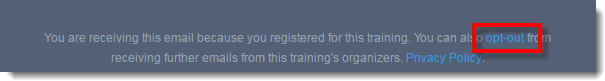 Opt out from GoToTraining Emails