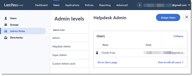 Admin Roles page