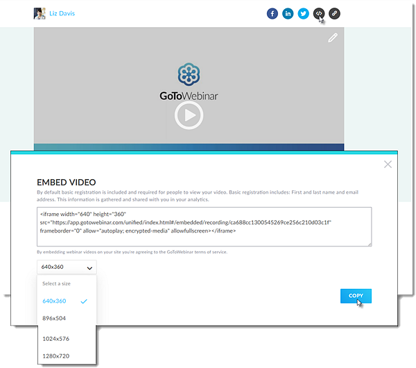 Embedded videos on GoToStage