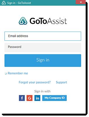GoToAssist sign in window