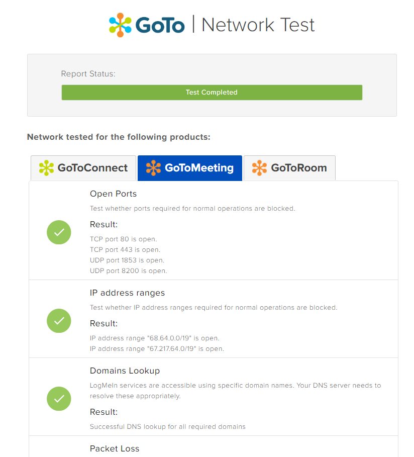 GoTo Network Test