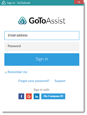 GoToAssist sign in window