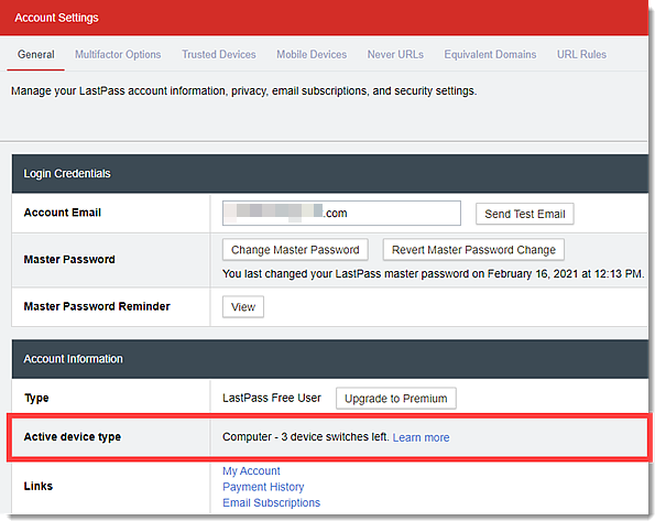 Account Settings window - active device type