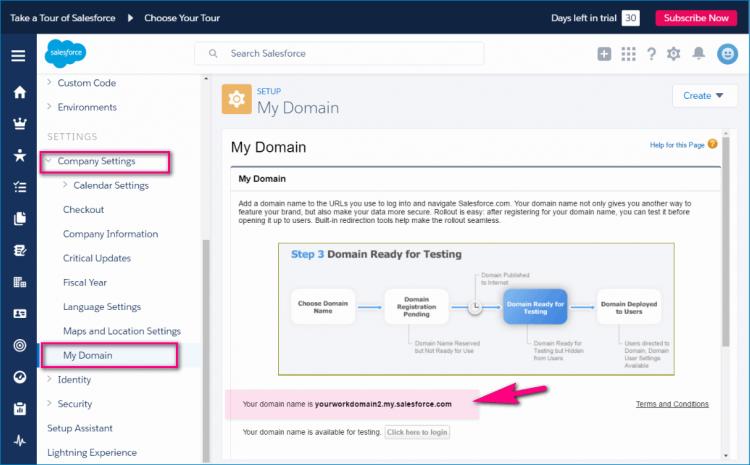 settings-domain salesforce_yourworkdomain- Salesforce