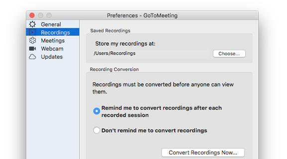 GoToMeeting Recording Preferences