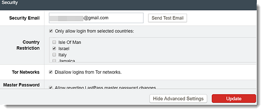 Allow login from countries with countries selected