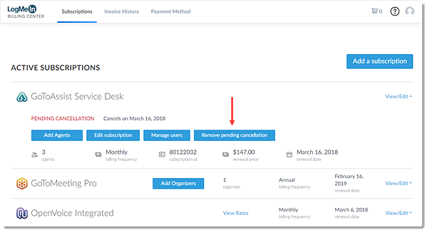 Remove Pending Cancellation in the Billing Center