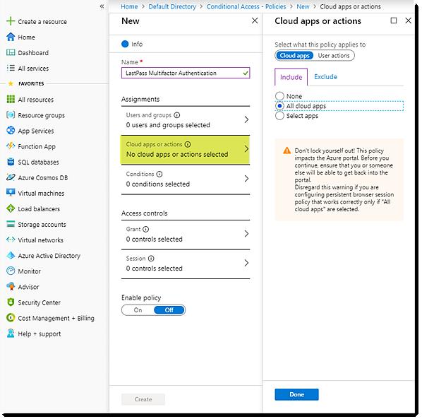 Assign Cloud apps in Azure AD portal