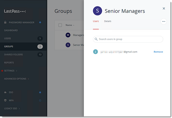 Enterprise Admin Console Group of Users