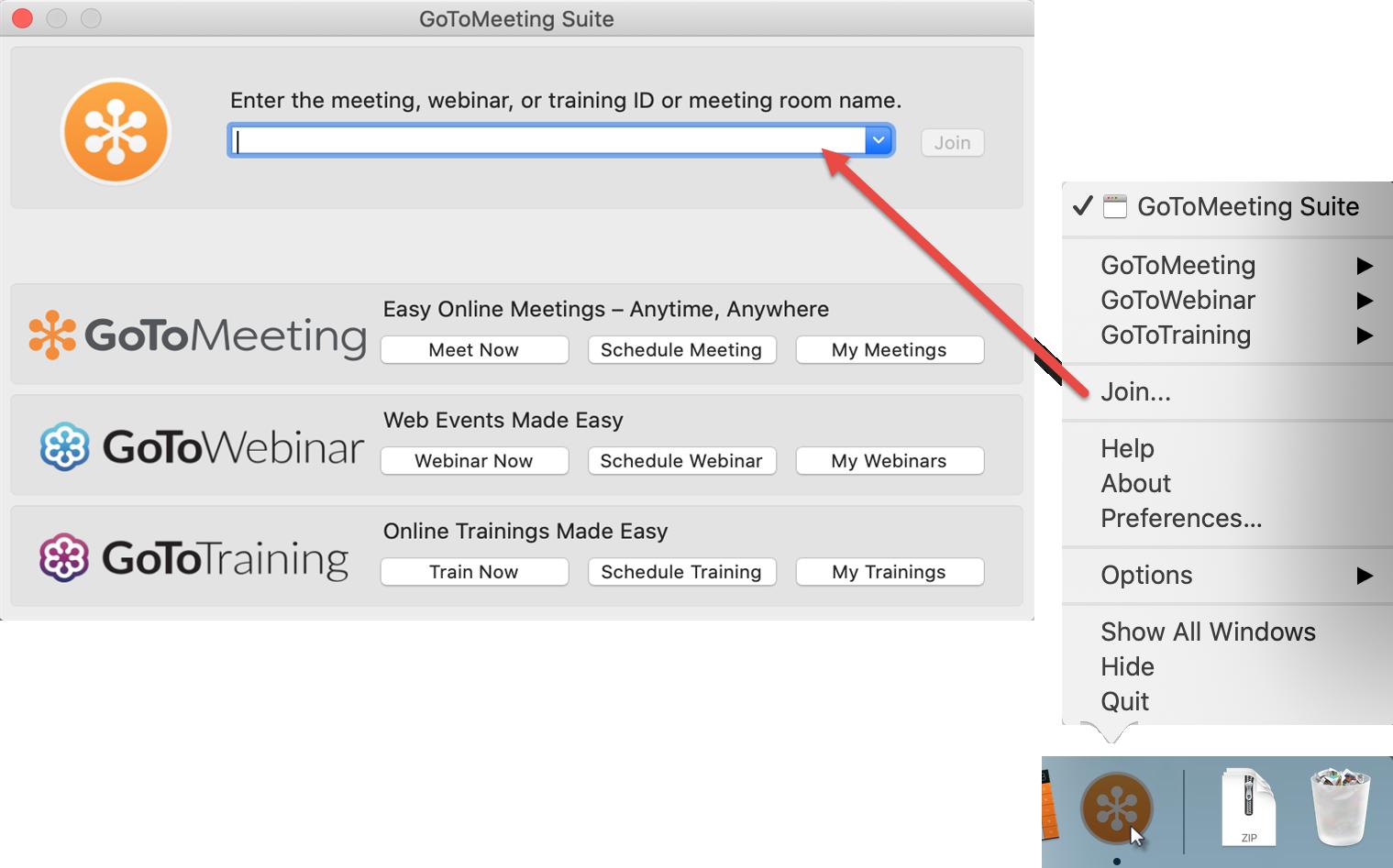 GoToMeeting-Suite auf Mac