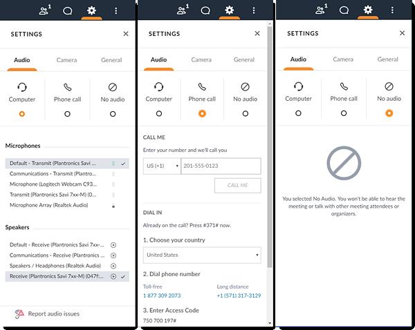 Cambiar de modo de audio en la Web App