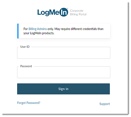 Corporate Billing Portal login