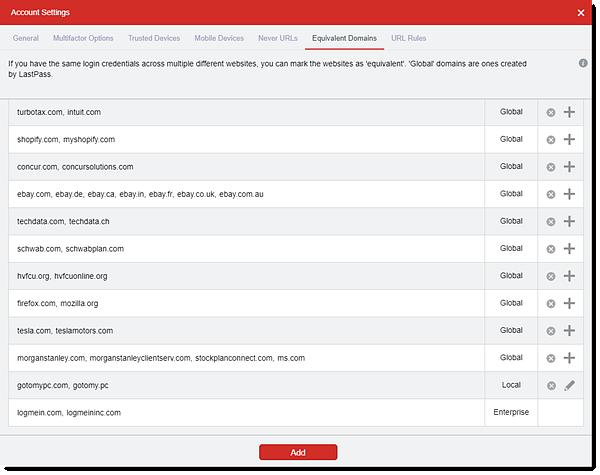 Liste gleichwertiger Domains in den Kontoeinstellungen