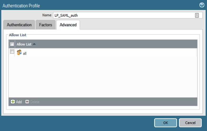 Authentication Profile Advanced tab