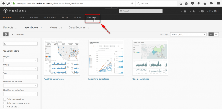 1st login to tableau and go to settings