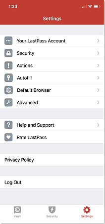 Opções de configurações do iOS