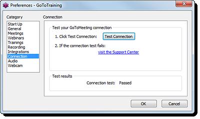 GoToTraining 接続をテストする