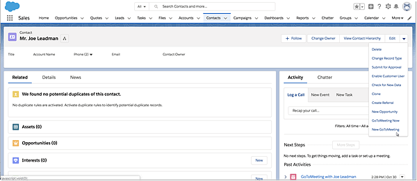 Locate GoToMeeting buttons in Salesforce