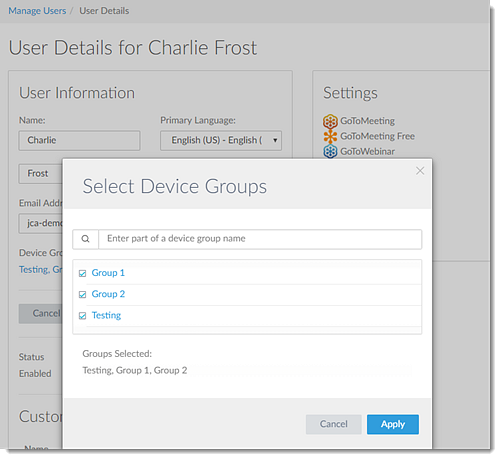 Select device groups