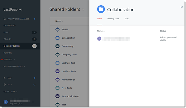 Enterprise-Administrationskonsole – Benutzer freigegebener Ordner