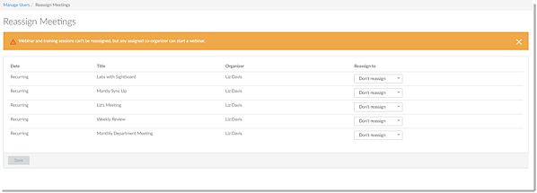 Reassign Meetings in the Admin Center