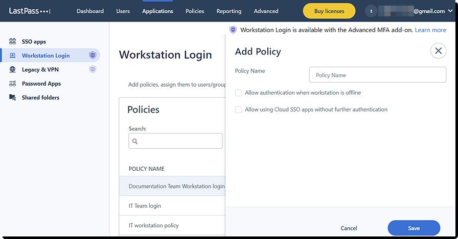 Add policy in Admin Console