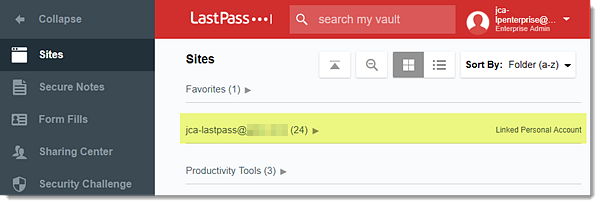 Linked Personal Account in Vault