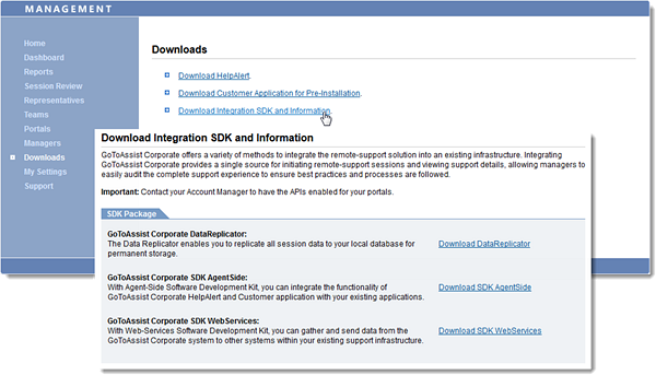 Download Integration SDK & Info in Management Center