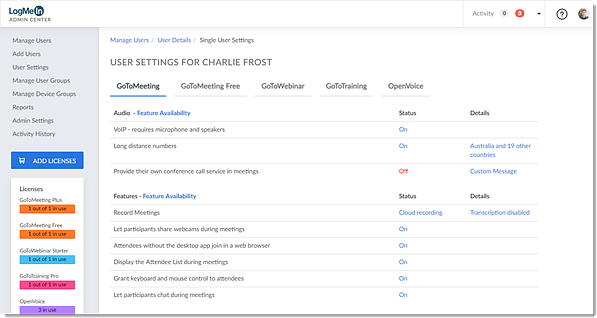 Product settings for a user