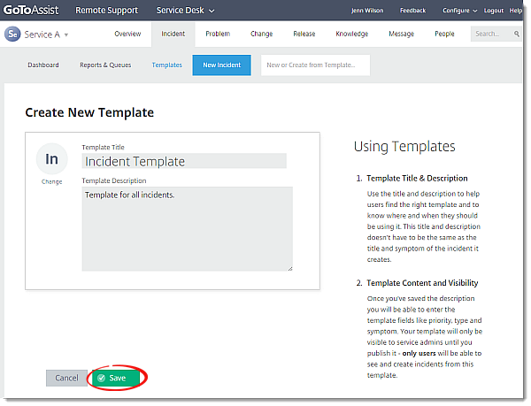 Create Templates Incidents Releases