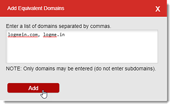 Gleichwertige Domains hinzufügen
